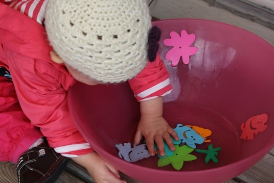 foam shapes in a wet bowl. Great fine motor activity for toddlers and babies.