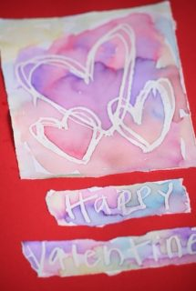 Wax resist valentines cards for toddlers