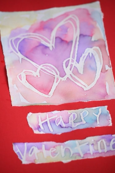 WAX RESIST Valentines cards for kids to make