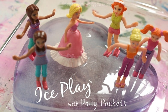 Ice Painting Activity & Small World Play with Polly Pockets