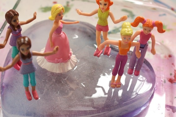 "Polly Pockets ""skating"" on frozen ice heart"