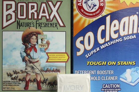 borax, washing soda and ivory soap to make homemade laundry detergent