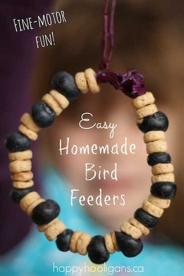 Homemade Bird Feeders with Cheerios and Blueberries