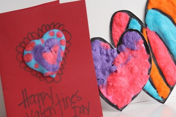 Homemade Valentines card and 2 cardboard hearts made with homemade puffy paint