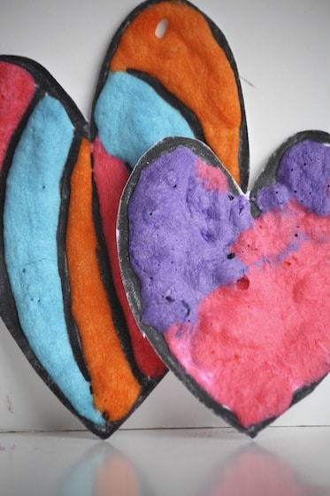 Puffy Paint Valentines Hearts for garlands or ornaments