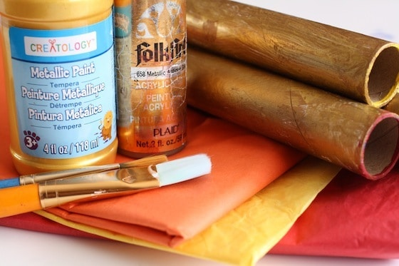 cardboard rolls, tissue paper, paint, paintbrush