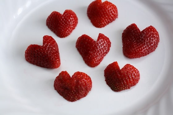 heart-shaped strawberries