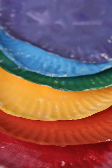 6 painted plates for paper plate colour wheel