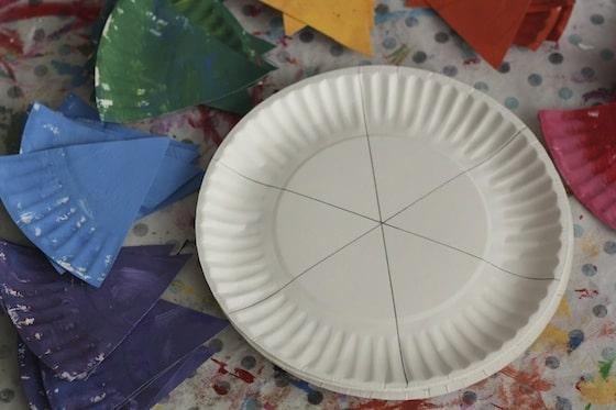 Pencil lines dividing paper plate into 6 parts.