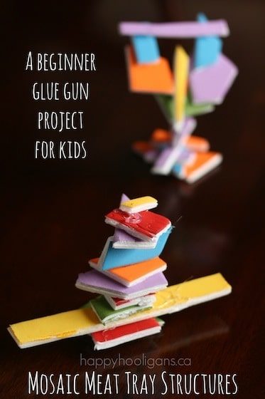 A Beginner Glue Gun Project for Kids: Mosaic Meat Tray Structures