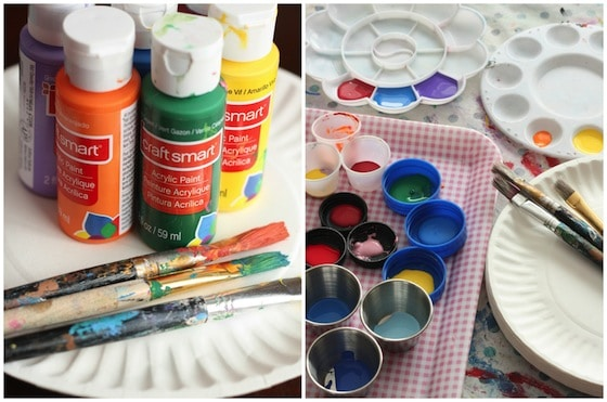 Supplies for kid's colour wheel craft
