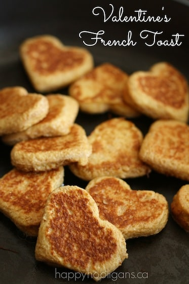 Heart shaped french toast for Valentine's Day - Happy Hooligans