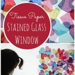 Valentines tissue paper stained glass window