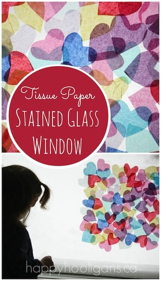 Tissue Paper and Stained Glass Window – Valentines Activity for Preschoolers