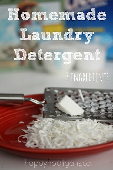 ingredients for homemade laundry detergent: borax, washing soda, grated ivory soap