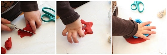 cutting, pressing, patting play dough - great for fine motor development