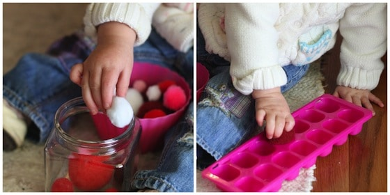 1 of 10 fine motor activities for babies and toddlers: pompom drop