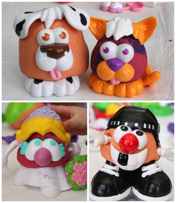 Dog and cat, princess and hockey player all made during homemade play dough/potato head session.