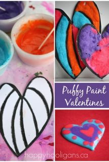 Homemade Valentines Cards made with homemade puffy paint