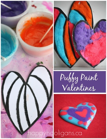 Puffy Paint Valentines Cards for Kids to Make