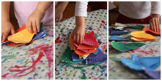 sorting colour wedges for colour wheel craft