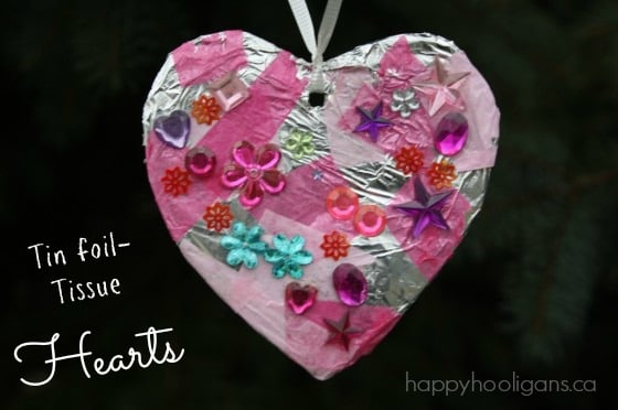Tin Foil Tissue Hearts - a Valentines craft for kids by Happy Hooligans