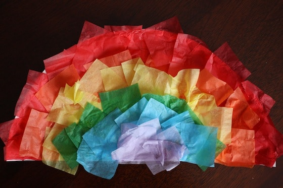 Paper Plate Rainbow Craft with Tissue Paper