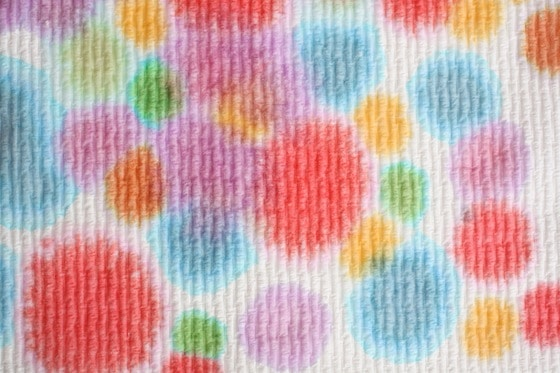 watercolour polka dots on paper towel