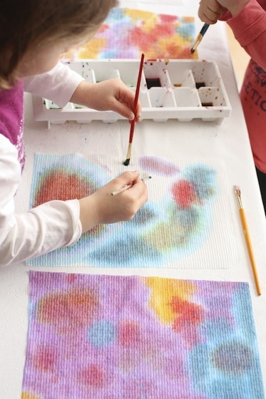 painting with 2 brushes on paper towels