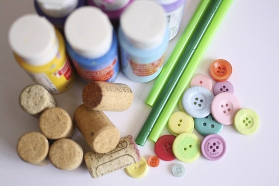 supplies for cork and button flower craft
