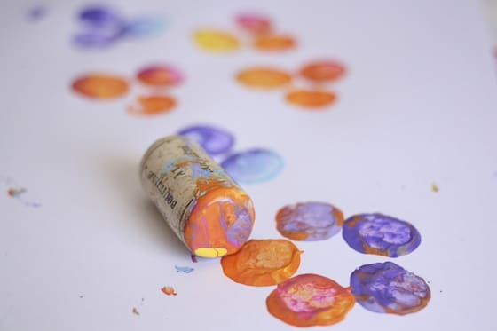 stamping a flower with a single cork