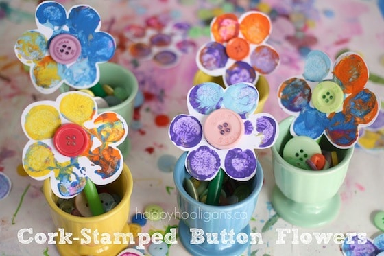 cork stamped flowers in egg cups - easy flower craft for kids