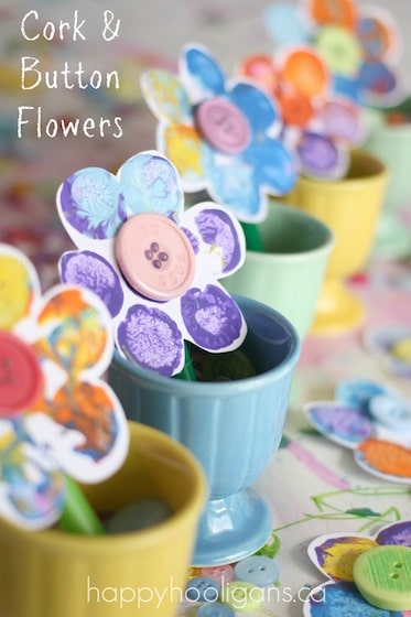 Spring flower craft for kids - stamping with corks - happy hooligans