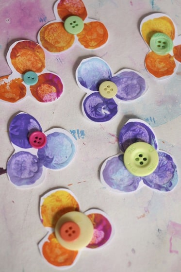 pansies with button centres, stamped with corks