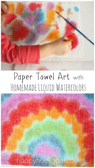 Toddler art with paper towels and homemade liquid watercolours