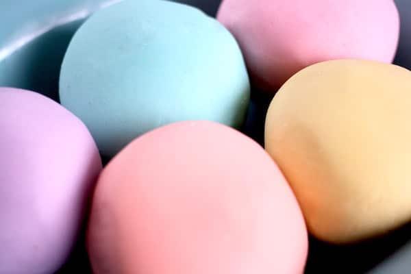 Homemade Playdough Easter Colours
