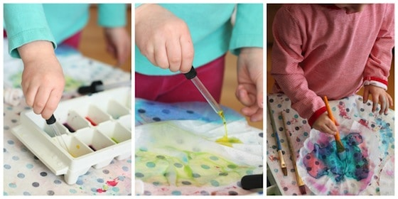 dyeing coffee filters with watercolours.