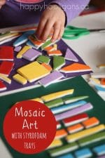 Mosaic Project for Preschoolers  – with Styrofoam Meat Trays