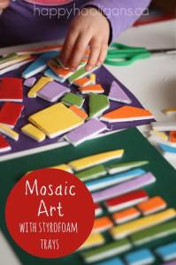 mosaic art with styrofoam meat trays