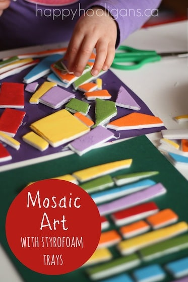 Mosaic art for toddlers and preschoolers with painted styrofoam produce trays