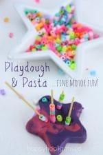 Pasta and Playdough for Fine Motor Development