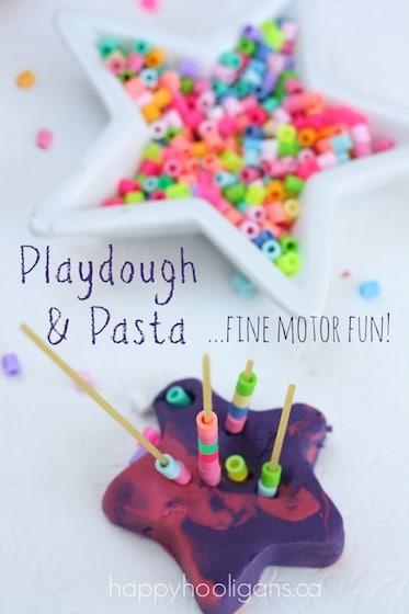 playdough, spaghetti and beads for fine motor development - happy hooligans