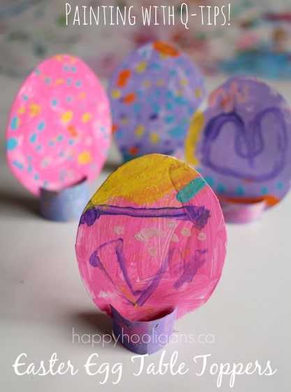 Easter Egg table toppers - painted with q-tips