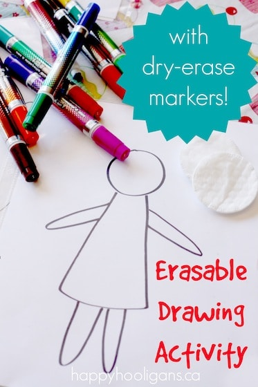 Erasable Drawing Activity for Kids – with Homemade Reusable Drawing Sheets