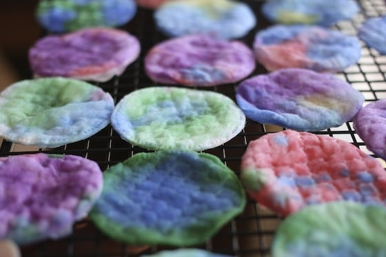 Coloured Cotton Pads for Toddler art project