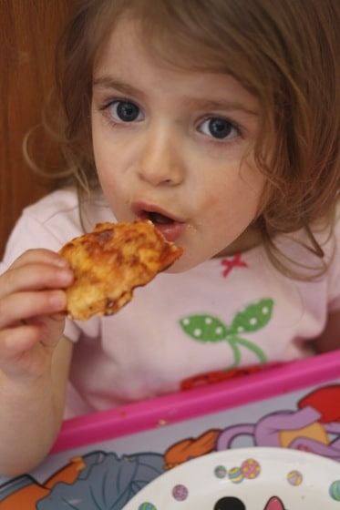 eating homemade pizza
