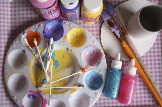 paint, q-tips, glitter paint, paintbrushes