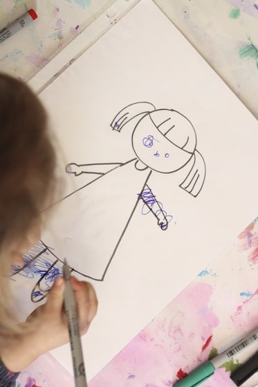 toddler drawing on plastic page protector - Children Drawing Sheets
