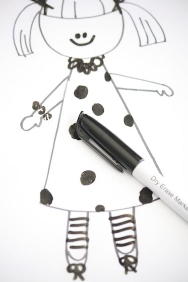 dry erase marker and drawing in plastic page protector - Kids Drawing Sheets