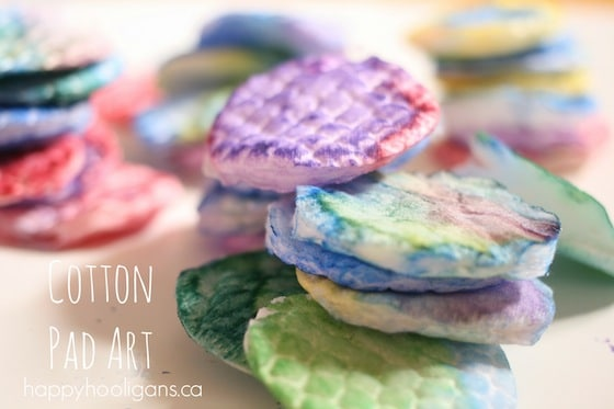 cotton pads dyed with liquid watercolours